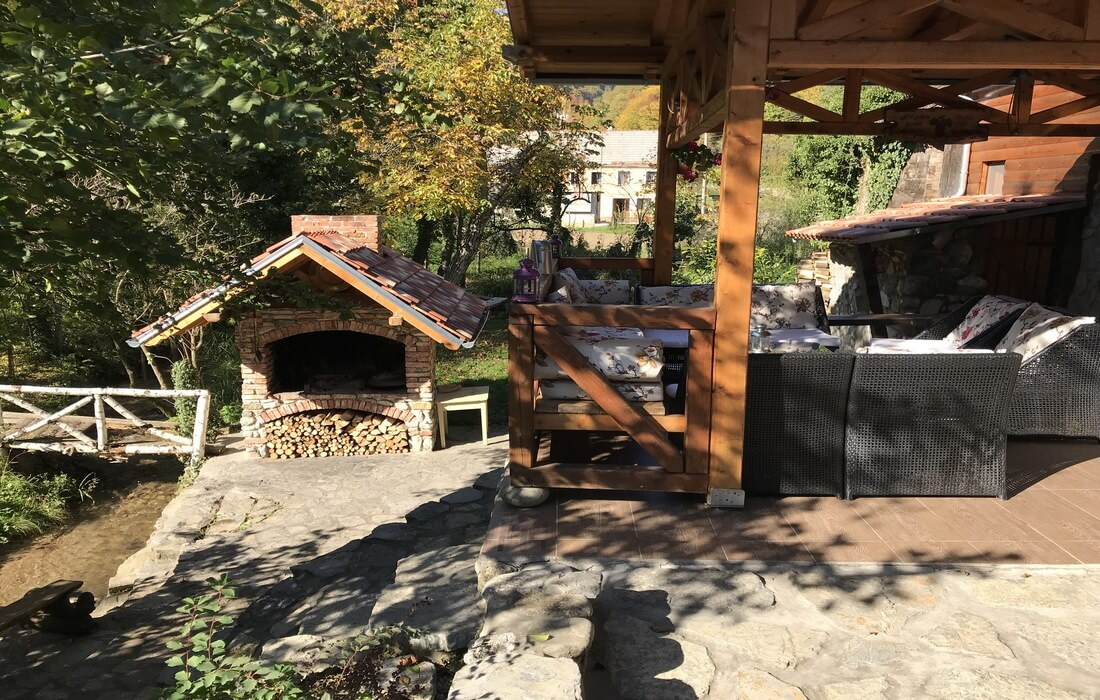Terrace with bbq on the stream House Bajka