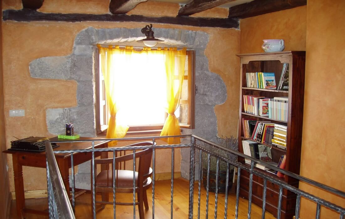 Reading area with many books in Our Istria, near Buzet