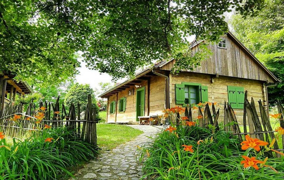 Cottages on green hills, Zagorje County, North Croatia
