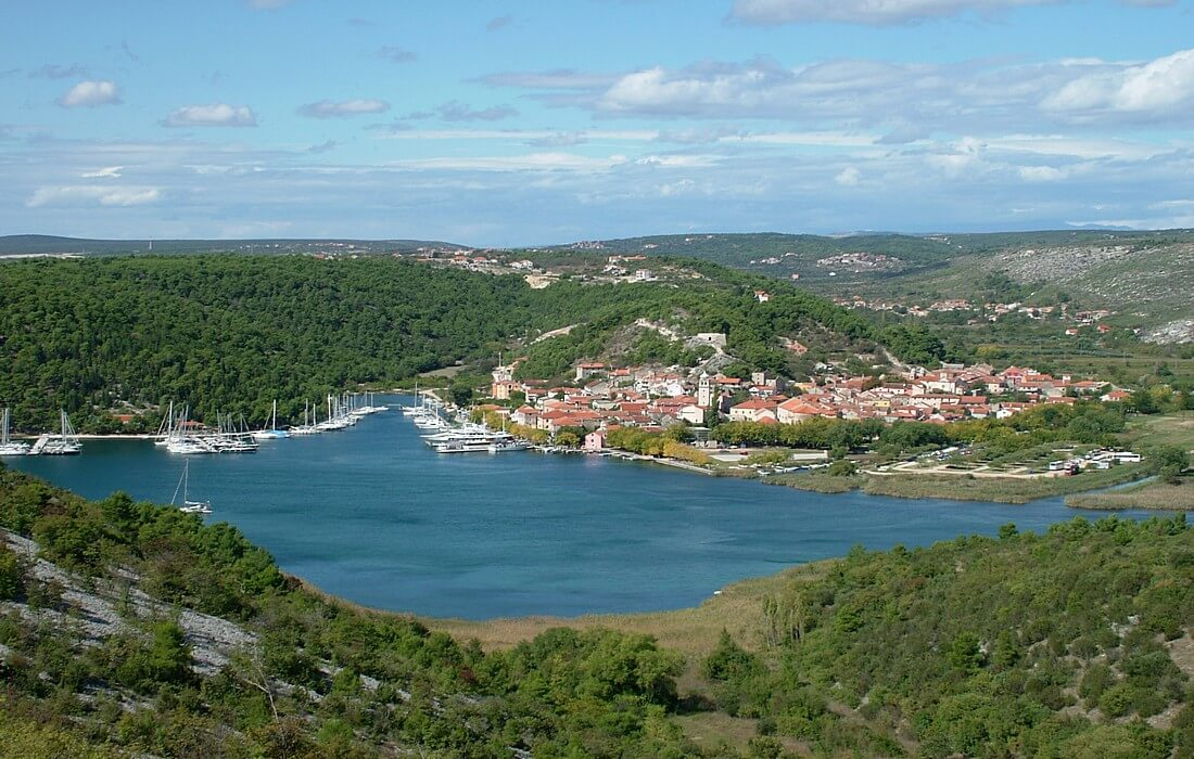 Picturesque Skradin on the bank of the Krka River
