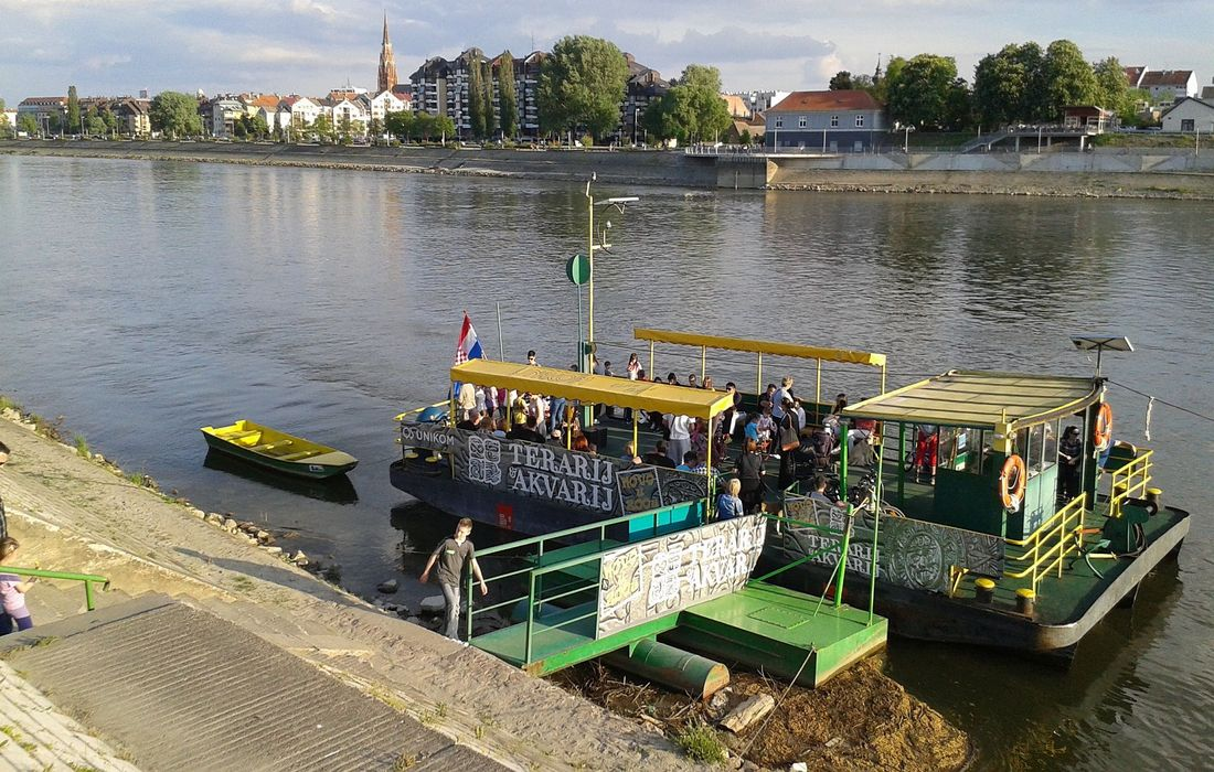 Kompa - small ferry from city over Drava River in Osijek