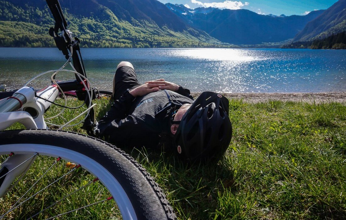 Resting on the banks of Lake Bohinj