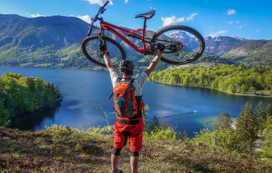 Biking excursion over Lake Bohinj with stunning views