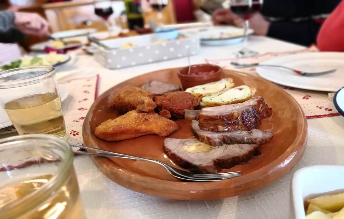 Traditional Slovenian food in local restaurants
