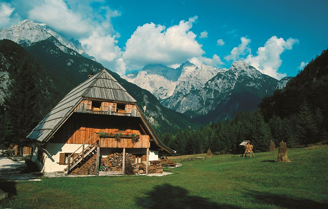 Traditional alpine architecture in Slovenian Alps